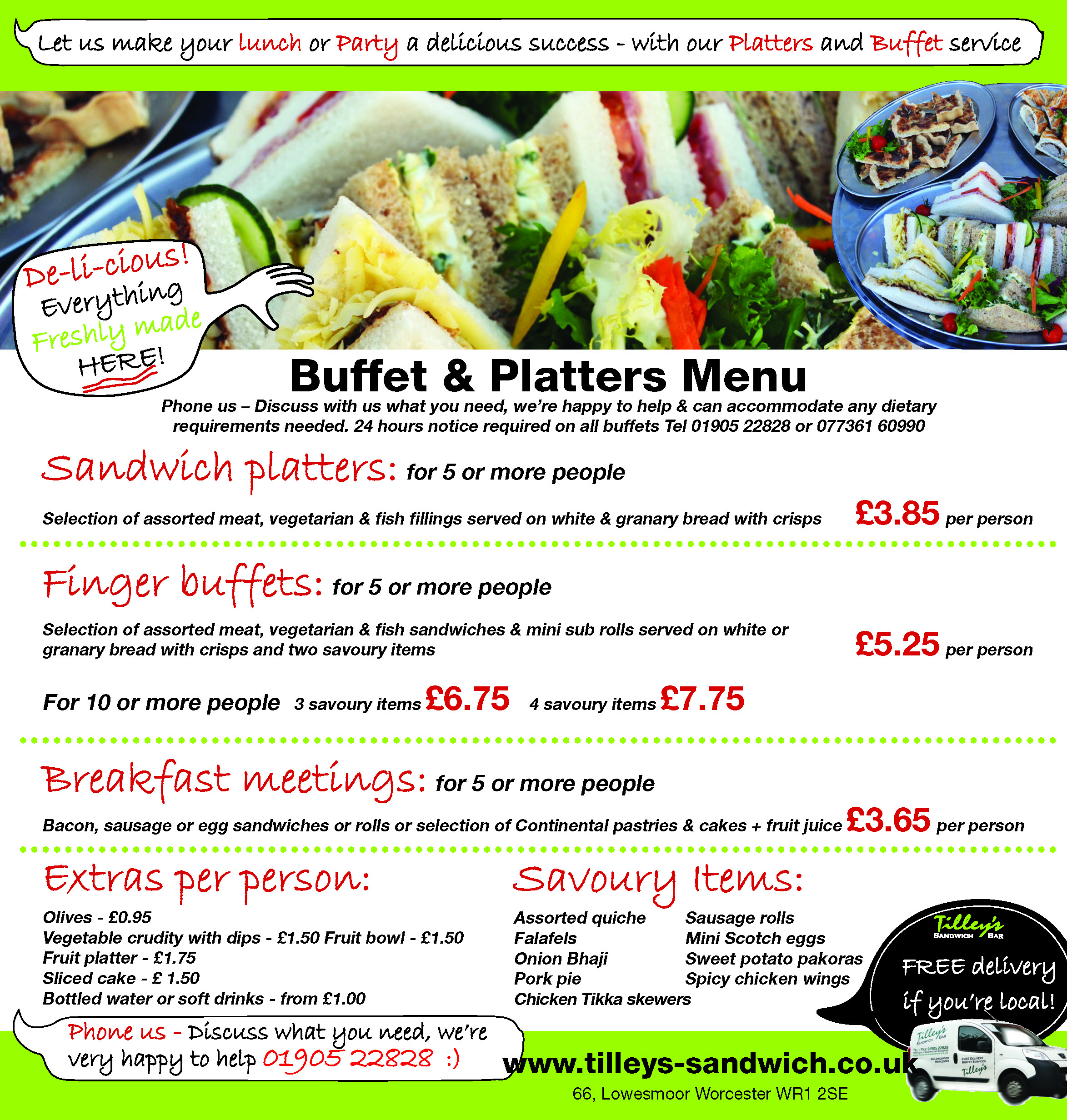 Buffets and Platters menu